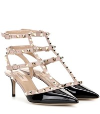 Valentino Rockstud Patent Leather Kitten Heel Pumps Black