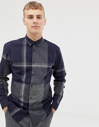 Selected Homme Block Check Shirt In Slim Fit Dark Navy Check