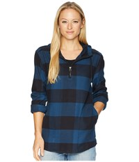 The North Face Stayside Pullover Shirt Blue Wing Teal Large Bowden Plaid Long Sleeve Pullover Black