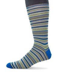 Saks Fifth Avenue Multicolored Striped Socks Red Tan Blue
