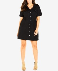 City Chic Plus Size Safari Shirtdress Black