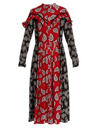 Dodo Bar Or Mick Paisley Print Silk Midi Dress Red Multi
