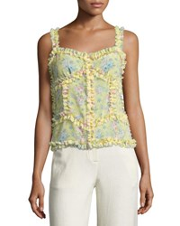 Attico Patchwork Floral Silk Camisole Top Yellow