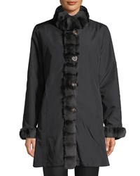 Belle Fare Reversible Long Sleeve Rabbit Trim Coat Black Brown