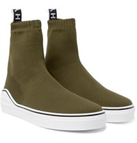 Givenchy George V Logo Jacquard Stretch Knit High Top Sneakers Army Green