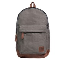 Mahi Leather Canvas Classic Backpack Rucksack In Grey Canvas