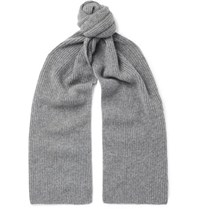Anderson And Sheppard Ribbed Cashmere Scarf Gray