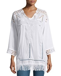 Xcvi Bottega Eyelet Fringe Trim Tunic White