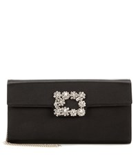 Roger Vivier Envelope Flowers Satin Shoulder Bag Black