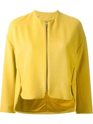 Fad Three Zipped Cropped Jacket Yellow And Orange