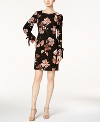 Nine West Tie Sleeve Shift Dress Black Rose Multi