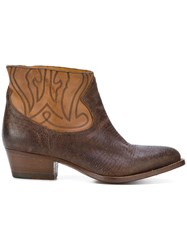 Buttero Western Style Boots Calf Leather Leather Brown