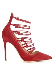 Gianvito Rossi Vitello Stiletto Heeled Suede Pumps Red