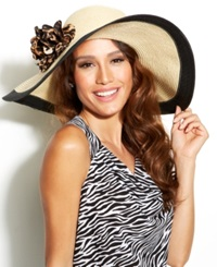 Nine West Packable Super Floppy Hat With Animal Print Flowers Light Tan