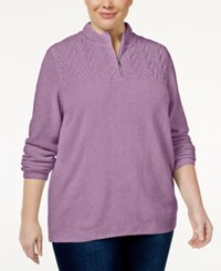 Alfred Dunner Plus Size Quarter Zip Chenille Sweater Lilac