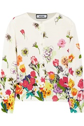 Moschino Floral Print Wool Cardigan White