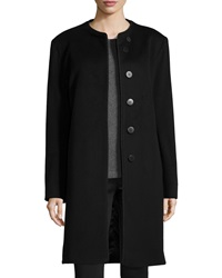 Fleurette Rope Trim Long Wool Coat Black