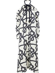 Monse Rope Print Cold Shoulder Dress White
