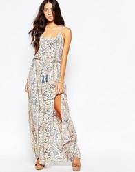 Pepe Jeans Floral Maxi Dress With Tassel Belt Multi