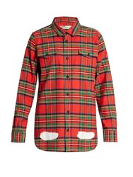 Off White Tartan Spray Paint Cotton Shirt Red Multi