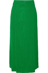 Protagonist Plisse Crepe Wrap Effect Midi Skirt Bright Green