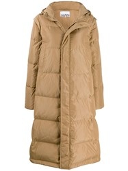 Ganni Long Line Puffer Jacket Neutrals