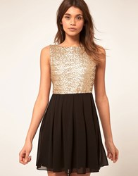 Tfnc Babydoll Dress With Sequin Bodice Gold