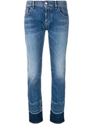 Emporio Armani Contrast Ankle Cropped Jeans Blue