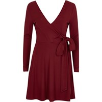 River Island Dark Red Wrap Ballet Style Dress