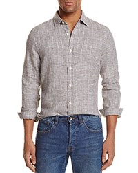 Bloomingdale's The Men's Store At Linen Glen Plaid Regular Fit Button Down Shirt Black Olive White