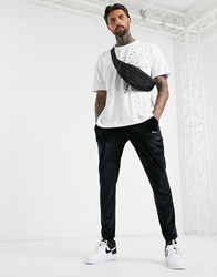 Good For Nothing Oversized T Shirt In White With Distressing And Logo