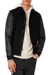 Topman Men's Wool Blend Bomber Jacket With Leather Sleeves