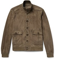 Valstarino Unlined Suede Bomber Jacket Green