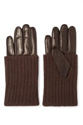 Portolano Leather And Ribbed Cashmere Gloves Brown
