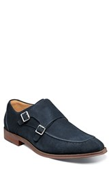 Stacy Adams Balen Moc Toe Double Strap Monk Shoe Navy Suede