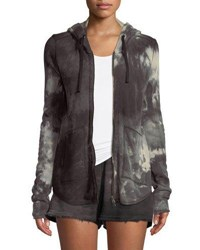 Atm Anthony Thomas Melillo Tie Dye French Terry Zip Front Hoodie Jacket Black