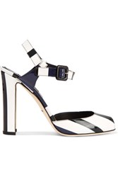 Dolce And Gabbana Patent Leather Sandals White