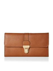Accessorize Leather Long Push Lock Wallet Tan
