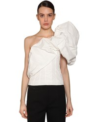 Givenchy One Shoulder Taffeta Top White