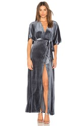 Wyldr Dreamer Velvet Wrap Dress Blue