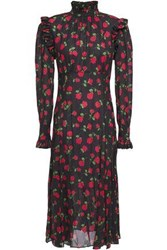 Michael Kors Collection Woman Ruffle Trimmed Gathered Floral Print Crepe Midi Dress Black