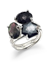 Ippolita Sterling Silver Rock Candy 3 Stone Cluster Ring In Black Tie