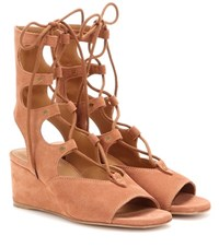 Chloe Suede Gladiator Wedge Sandals Brown