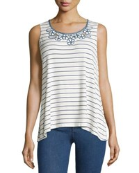 Max Studio Striped Embroidered Neck Tank White