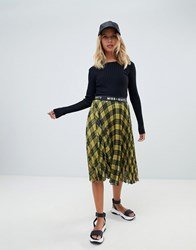 Miss Sixty Check Midi Pleated Skirt With Logo Waistband Yellow