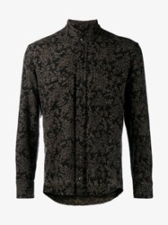 Etro Raw Edge Wool Blend Paisley Shirt Black Brown