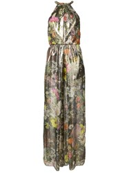 Monique Lhuillier Floral Halterneck Gown Women Silk 10