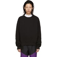 D.Gnak By Kang.D Black Ribbed Asymmetry Sweatshirt