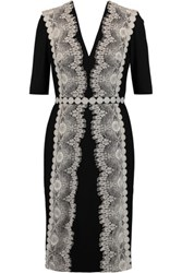Catherine Deane Lace Appliqued Jersey Dress Black