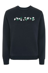 Topshop Petite Embroidered Panda Sweatshirt By Tee And Cake Blue
